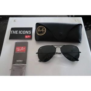 Ray-Ban 58mm Black Aviator Sunglasses (Brand New)